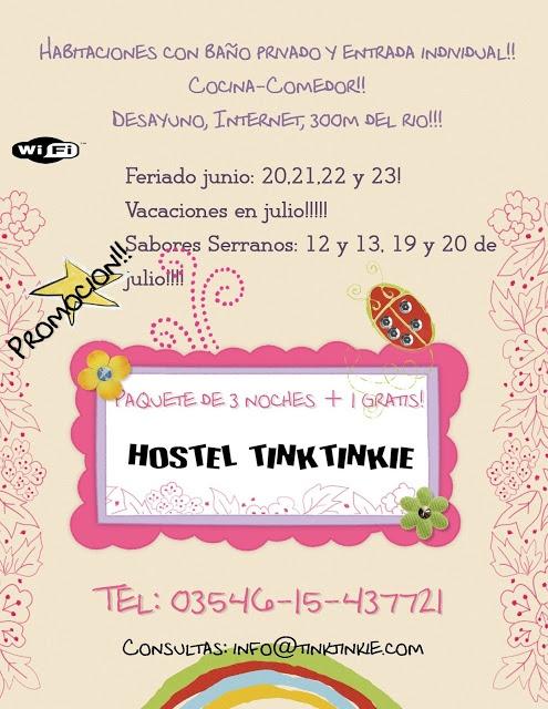 Promociones junio y julio @ Hostel Tinktinkie en Santa Rosa de Calamuchita.