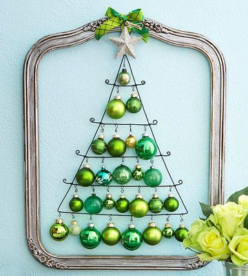 Wire Ornament Holder  -- Gather your favorite collectible ornaments and trim the boughs of a whimsical art piece. Hung inside a frame topped with a bow, the ornaments are the center of attention.