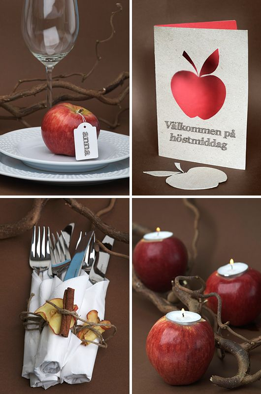 Red apple decoration / cinnamon and natural accents