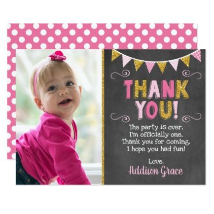 Pink and Gold Birthday Thank You Card | Chalkboard - invitations personalize custom special event invitation idea style party card cards