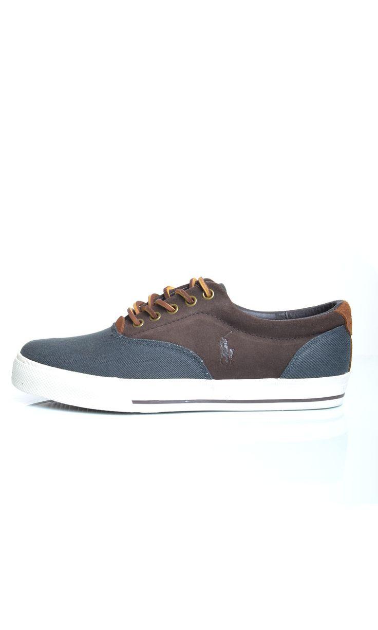 Scarpe Polo Ralph Lauren VAUGHN SA NE Sneakers Basse Camoscio E Tessuto - Marrone - Scarpe Uomo - A85Y2036 - Dursoboutique.com