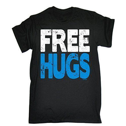 FREE HUGS (M – BLACK) NEW PREMIUM LOOSE FIT T-SHIRT – slogan funny clothing  joke novelty vintage retro t shirt top men's ladies women's girl boy men  women ...