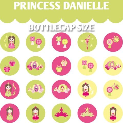 Princess bottlecap images pink green lime  Princess by BlessedShop