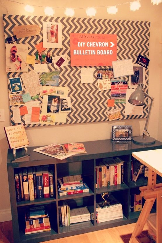 diy chevron bulletin board - long skinny for by the bookcase...so I can post but kids don't see the clutter.