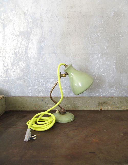 recycled table lamp with fluo wire