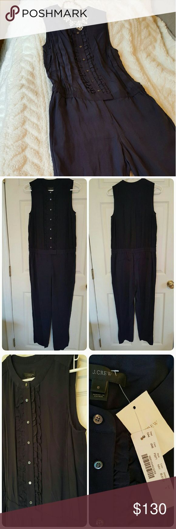 NWT J. Crew Navy Jumpsuit. Size 6. NWT J. Crew Navy Ruffle-front Jumpsuit! Size 6. Never worn! Open to offers! 😊 J. Crew Pants Jumpsuits & Rompers