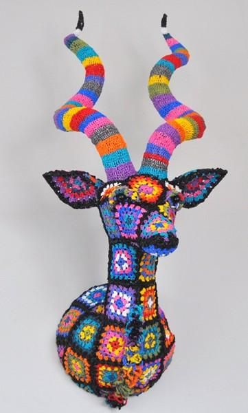 Eco Crochet kudu from recycled shopping bags by South African artist and designer: Magda van der Vloed  vandervloed@absamail.co.za
