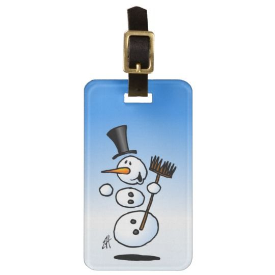 Dancing snowman luggage tag. #snowman #luggage #luggagetag #dancing #gifts #giftideas #christmasgifts #winter #snow #zazzle #cardvibes #tekenaartje #SOLD