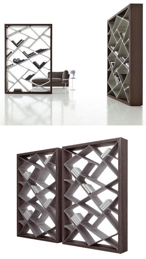 Freestanding double-sided #bookcase SHANGHAI by ALIVAR   #design Giuseppe Bavuso #cement @Alivar