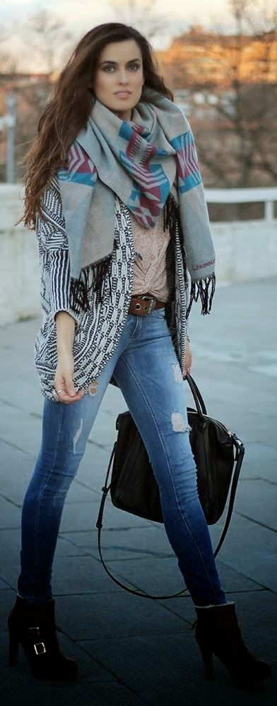 Attractive rolled up boyfriend jeans with cardigan, tribal scarf and boots