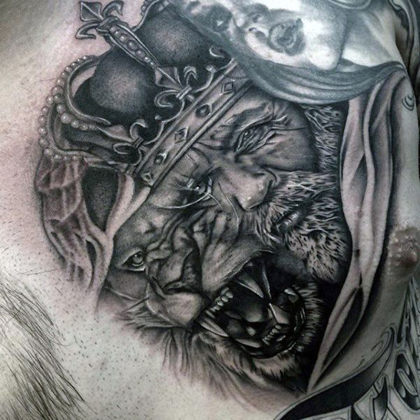 Witch King Tattoo On Guy S Chest: 1000+ Ideas About Lion Chest Tattoo On Pinterest