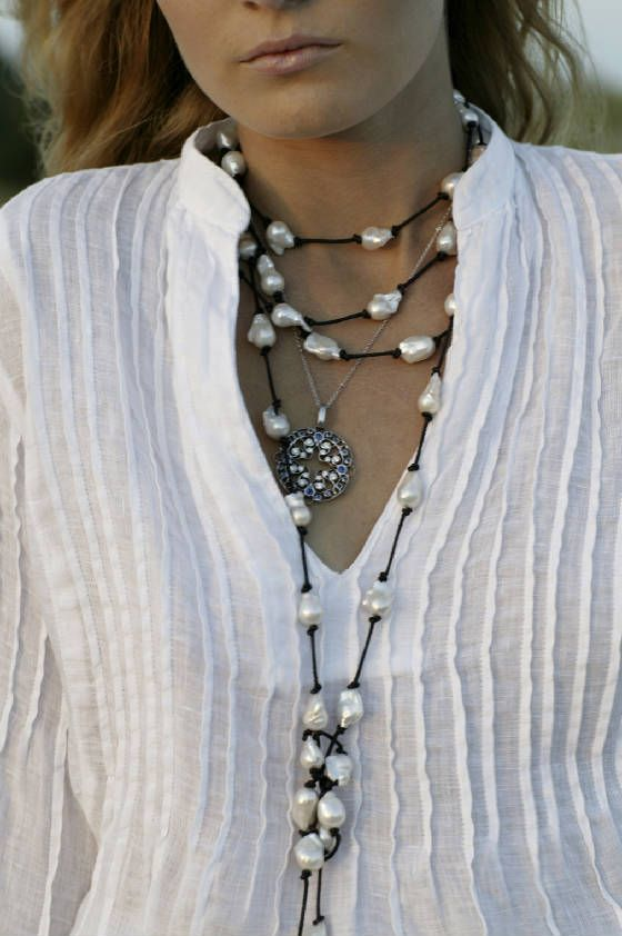 Necklace, Leather and Pearls, knotting technique w/ interesting closure