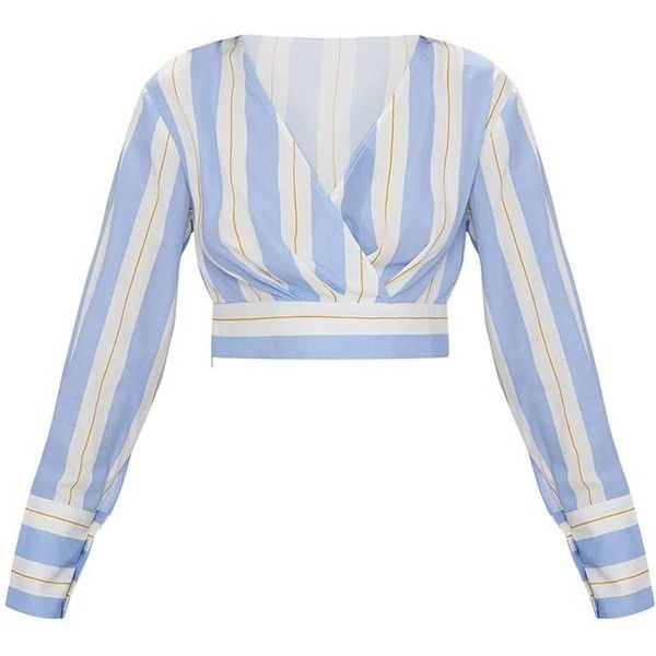 Blue Long Sleeve Stripe Crop Blouse (2.030 RUB) ❤ liked on Polyvore featuring tops, blouses, blue blouse, white long sleeve top, white wrap blouse, striped crop top and wrap blouse