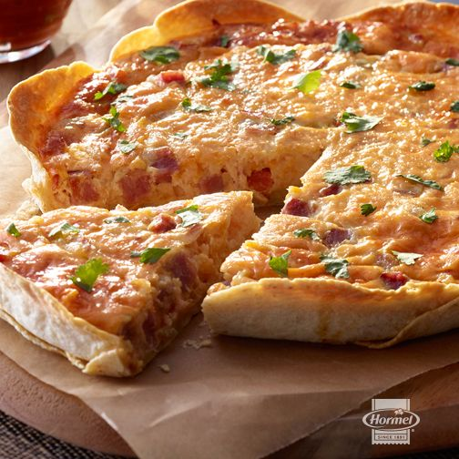 This southwest take on a classic quiche with ham, thick & chunky salsa, cheese, and a thin & crispy tortilla crust is SO tasty.