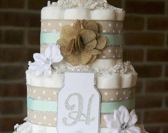 2 Tier Neutral Shabby Burlap Diaper Cake by BabeeCakesBoutique