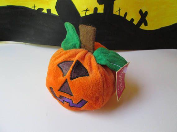 Plush Pumpkin Jack O Lantern Toy Vintage NOS w tag Stuffed