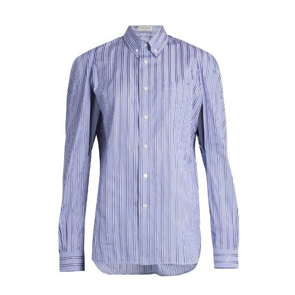 Balenciaga Logo-embroidered striped cotton shirt (€755) ❤ liked on Polyvore featuring tops, blue stripe, slit sleeve top, balenciaga shirt, sleeve shirt, cotton shirts and slit sleeve shirt