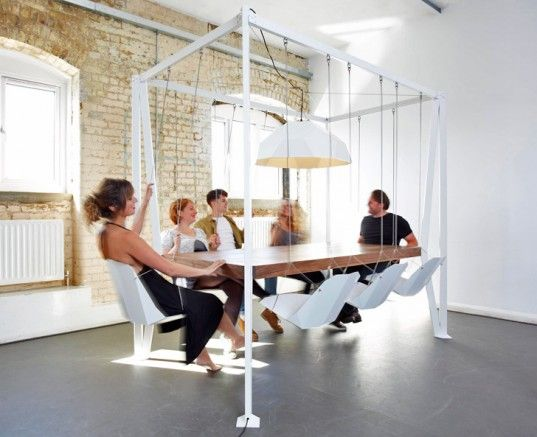 Totally LUX -- Duffy London Swing Table. Let the creativity commence. #creativeofficespace #conferenceroom