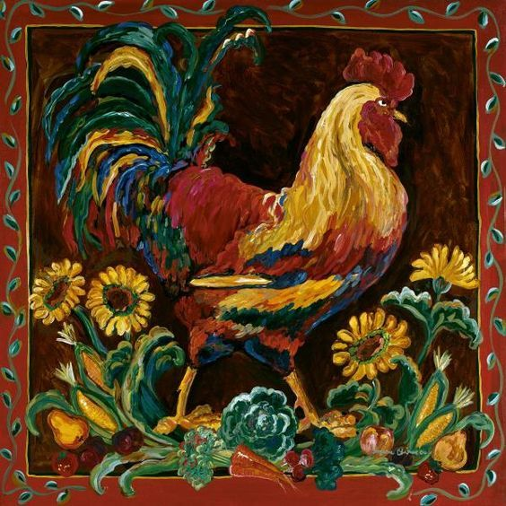 Suzanne Etienne - Rooster Rustic - art prints and posters
