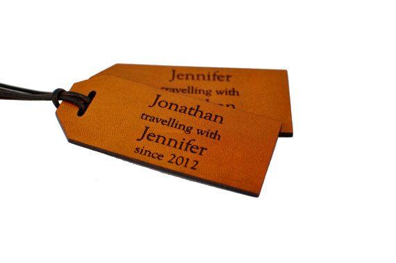 3e anniversaire étiquettes à bagages en cuir par LeatherworksDesign