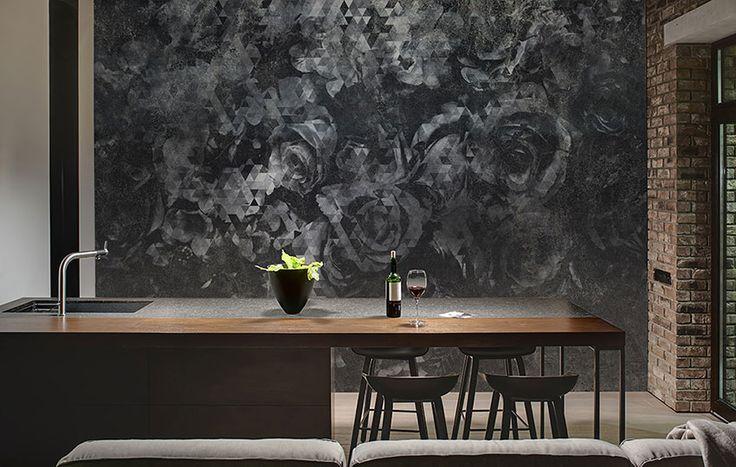 """Parker"" wallpaper in a kitchen of a modern loft. #Tecnografica #wallpaper #loft #diningroom #decorating"