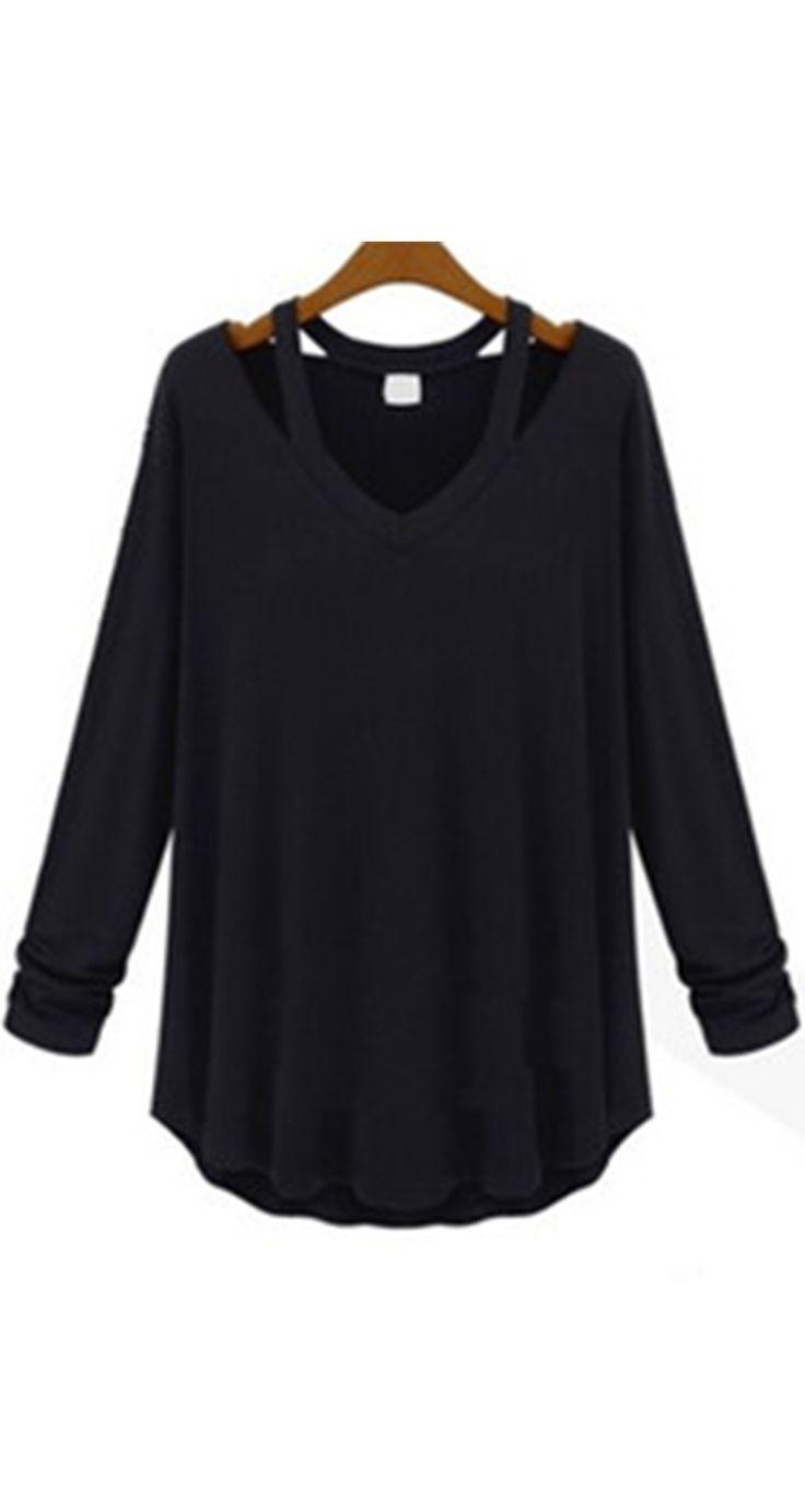 Black t shirt for girl - V Neck Long Sleeve Hollow Black T Shirt