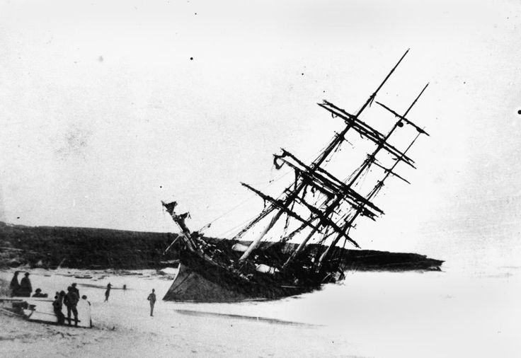 The ship pictured here was the clipper Hereward, sunk near Sydney Australia in 1898. The ship stayed intact for months and was almost saved, before a storm broke her up.