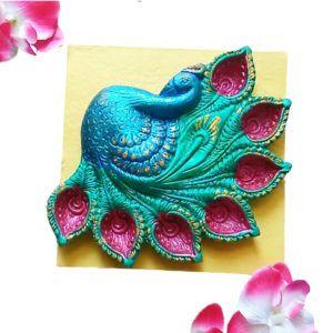 Peacock Design 5-7 Diya Thali   #wondermegamart.com