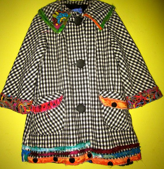 Vintage Wool Upcycled Car Coat fits M L by monapaints on Etsy