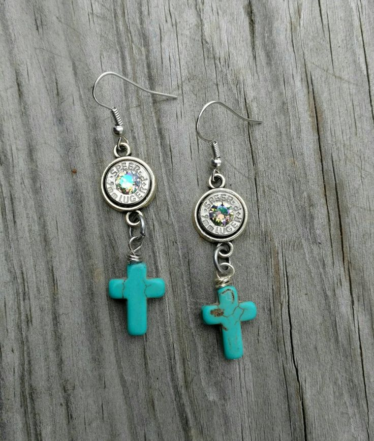 FREE SHIPPING!!! 9MM Bullet Swarovski Paradise shine gemstone, turquoise cross dangle earrings, country wedding jewelry, gun shell jewelry by Eccentricdesign72 on Etsy