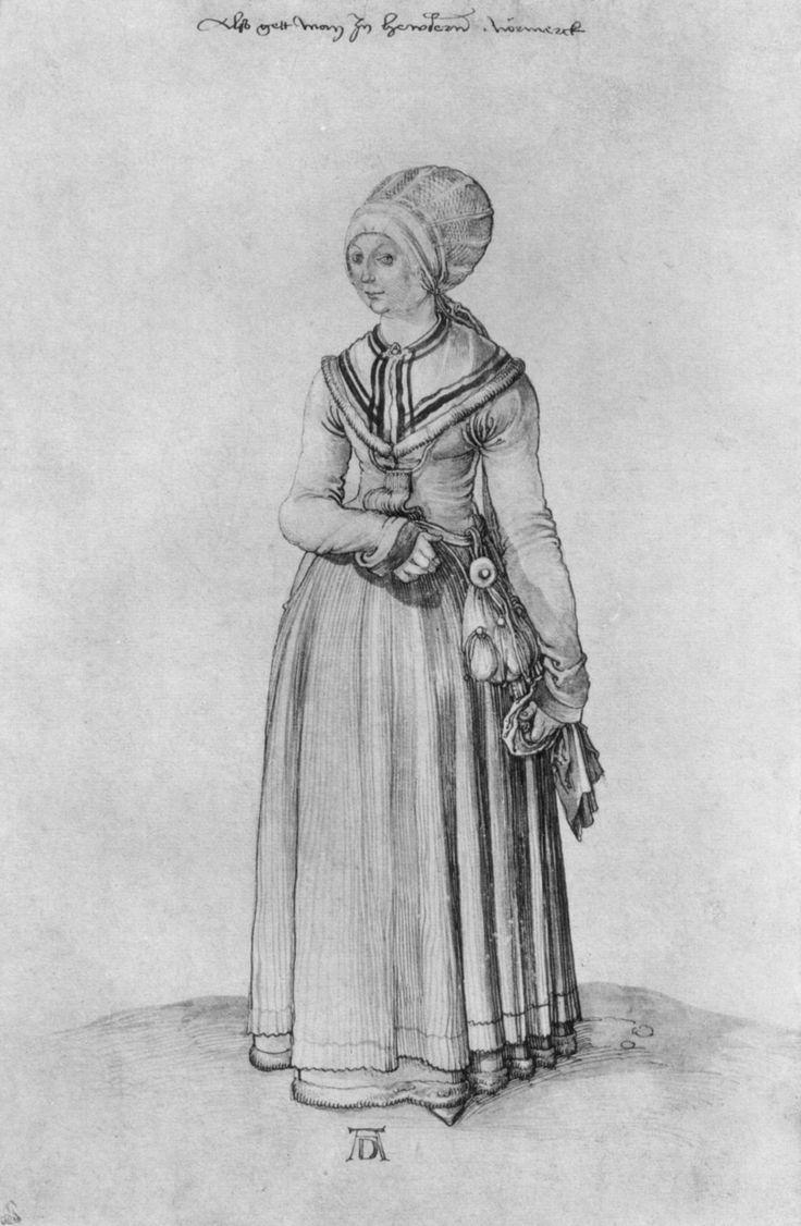 Nuremberg woman in house dress  Nürnbergerin im Hauskleid     Artist: Albrecht Durer