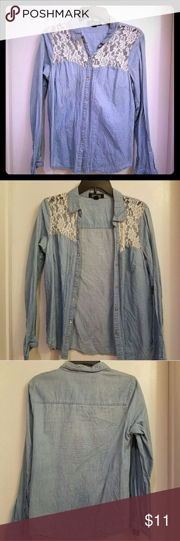 Denim Long Sleeve Top With Lace Gently used/ slight fray at the lace portion due to it being a stretchy material   Perfect for spring and summer!  If you normally wear a Medium, but are slightly more busty, this is a perfect top for you! Forever 21 Tops