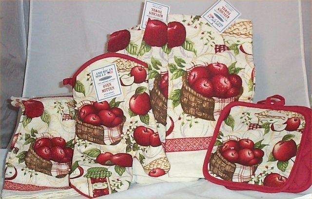 8 PC Apple Kitchen Towels Oven Mit Hot Pads Dish Rag Country Kitchen New