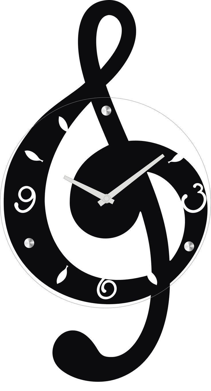 Ashton Sutton Musical Clef Wall Clock Wooden And Glass