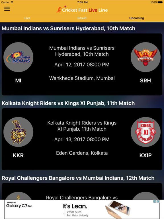 live IPL-T20 cricket details to follow our official Cricket Fast Live Line web page or Download FREE Mobile Apps today.!