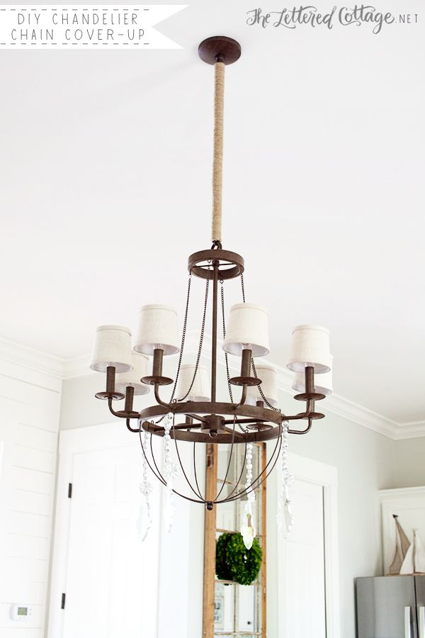 Dining Room Update DIY Twine Chandelier Chain Cover