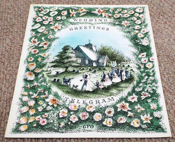 Vintage 1957 GPO Wedding Greetings Telegram  General Post