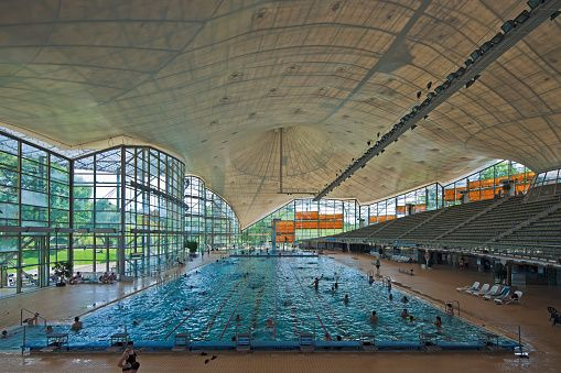 Interior of the Munich Olympic Swimming Pool, Munich Olympic Park, Gern, Munich Bayern, Germany