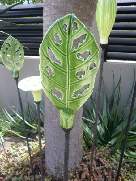 Chewed Leaf - Ceramic and Steel - New Zealand Art - Garden Art