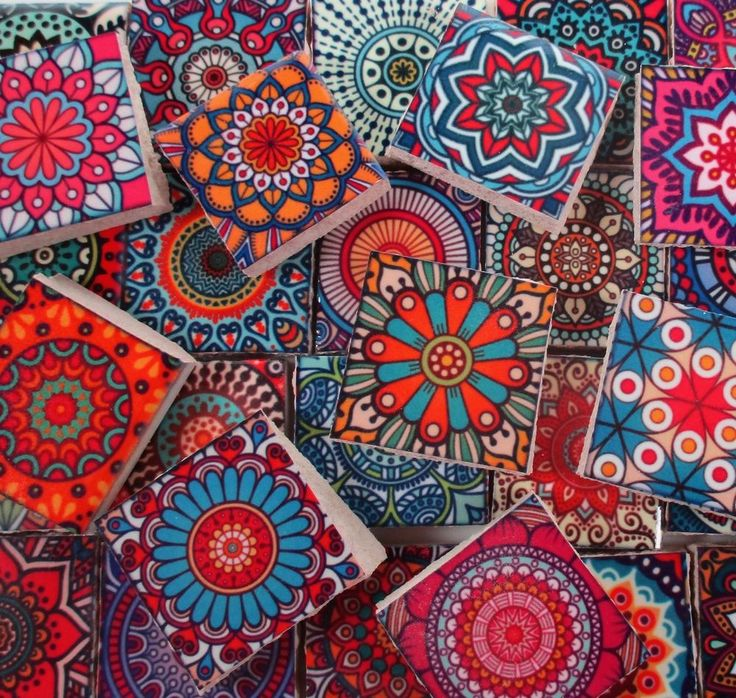 Ceramic Mosaic Tiles - Bright Colors Medallions Moroccan Tile Mosaic Tile Pieces #WhereGypsiesRoam