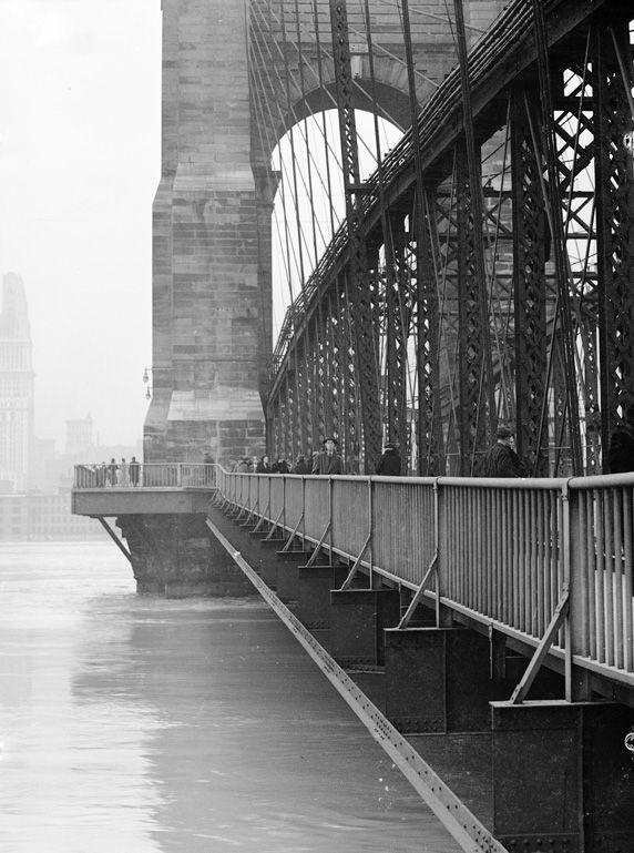 Cincinnati, Ohio, 1937 flood, photo by Betty T. Ross:  Roebling Suspension Bridge.