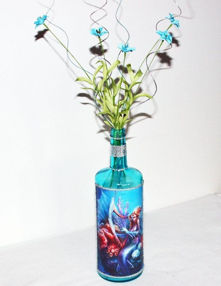 Teal Mermaid Decorated Liquor Bottle Floral Large Custom Liquor Bottle Gift #Handmade