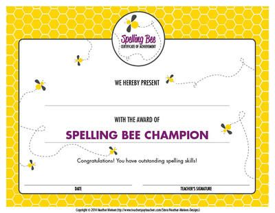 Best 25 bee certificate ideas on pinterest spelling bee spellingbeecertificatefromheathermeinendesignsonteachersnotebook yadclub Gallery