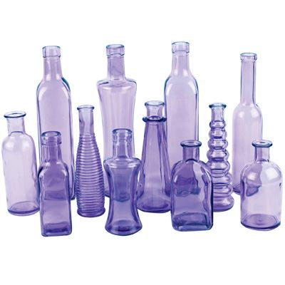 Purple Glass Vintage Bottles | Glass Floral Vases | Vintage Wedding Decor set of 24 for $75