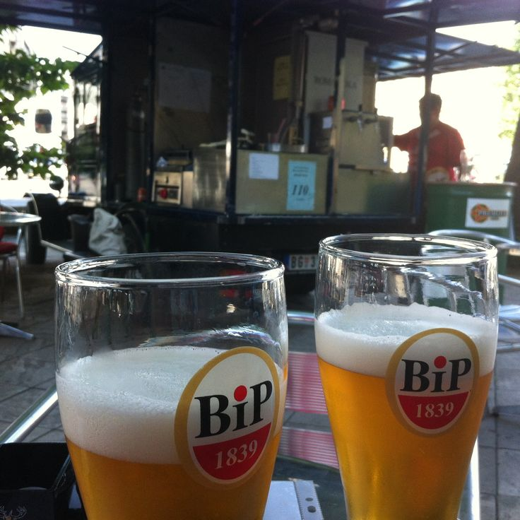 Street beer in front of the train station in Beograd Cheap and good taste by the way...