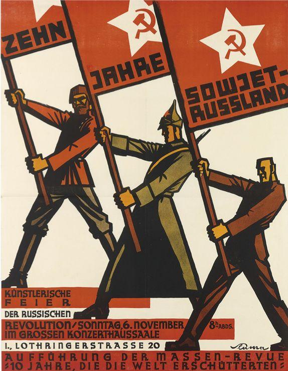 By Victor Theodor Slama (1890-1973), 1927,  Zehn Jahre Sowjet Russland,  Kunstlerische Feier der Russischen Revolution (celebration of the Russian Revolution).