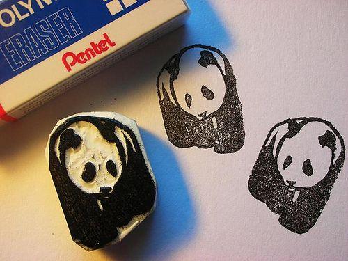 Panda eraser stamp(s) by Kozue. http://www.etsy.com/uk/people/Kozue?ref=owner_profile_leftnav Tags: Linocut, Cut, Print, Linoleum, Lino, Carving, Block, Woodcut, Eraser, Japanese, Helen Elstone, Cartoon.