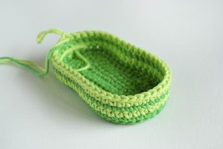 Green Zebra crochet baby booties