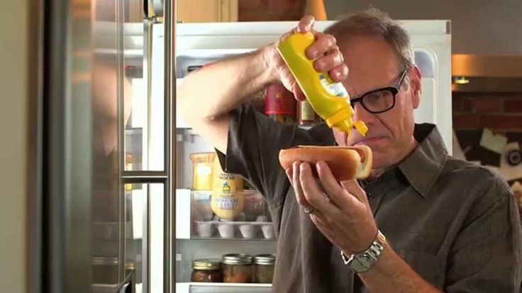 LOVE THIS GUY!  Alton Brown Dramatically Shows How To Make an Inexpensive Mustard Caddy Hack For Your Refrigerator