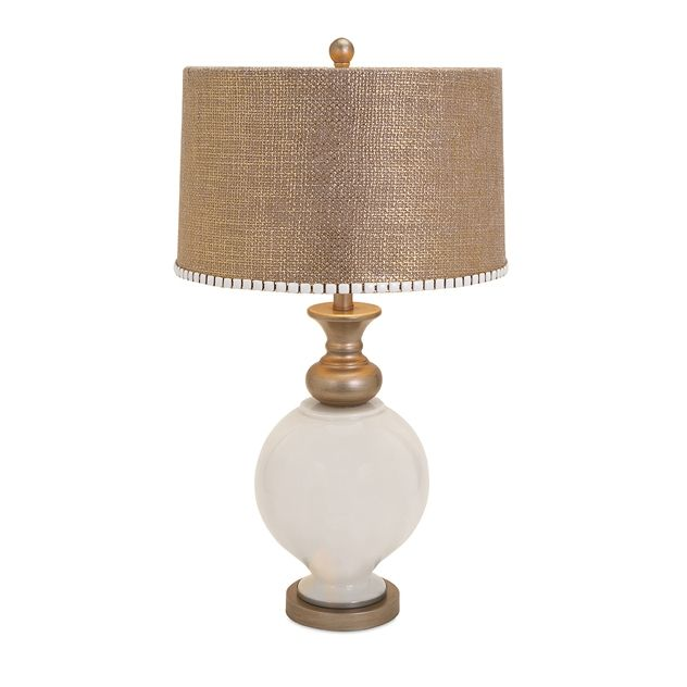 Awesome Lily Glass Lamp Designer Becky Fletcher is known for her delightfully embellished lampshades Here burlap goes glam in gold with a belt of white and gold Pictures - Minimalist designer table lamps Modern
